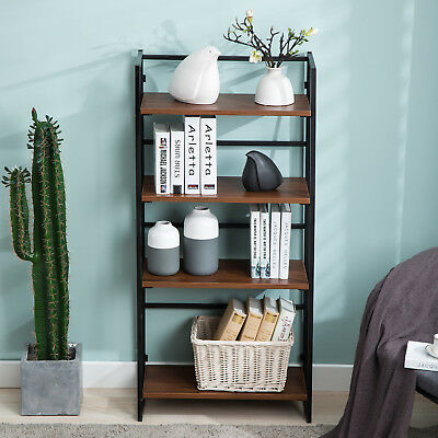 Wood Ladder 4-tier Bookcase Storage Rack Rustic Bookshelf Living Room Kitchen