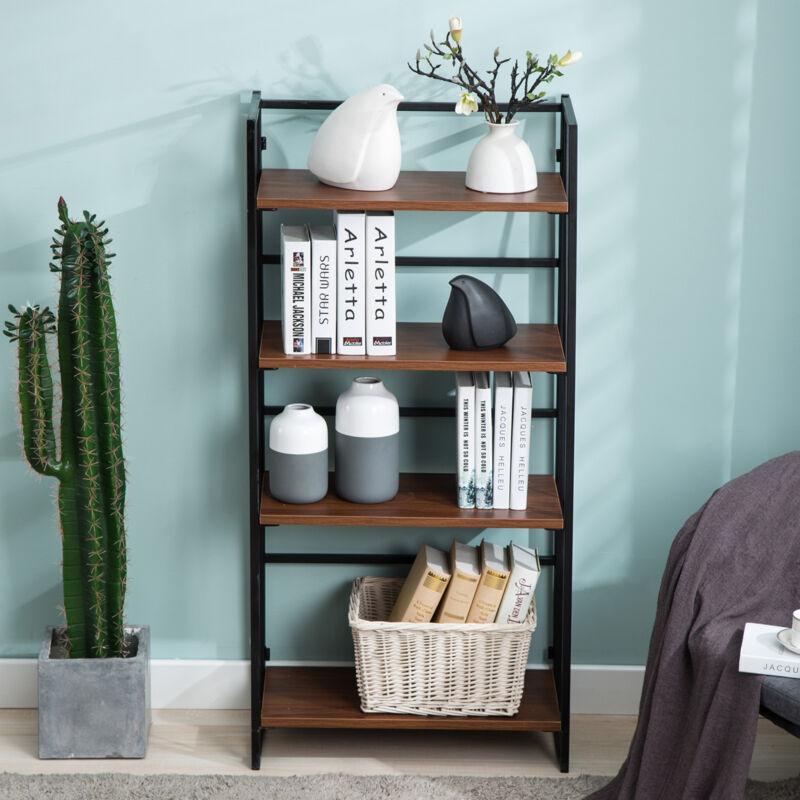 Wood Ladder 4-Tier Bookcase Storage Rack Rustic Bookshelf Living Room Kitchen
