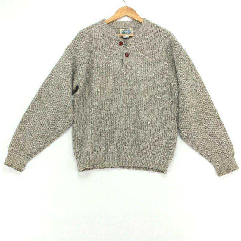Vintage Environmental Clothing Co Henley Sweater Mens Medium Oatmeal Fisherman