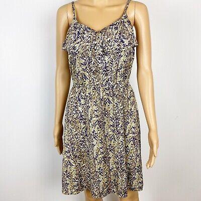 H&M brown purple print short summer DRESS size 4
