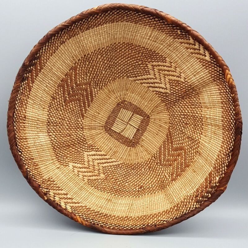 """Authentic Tightly Handwoven African Shallow Bowl/Wall Basket 14""""x 3.5"""" Zimbabwe"""