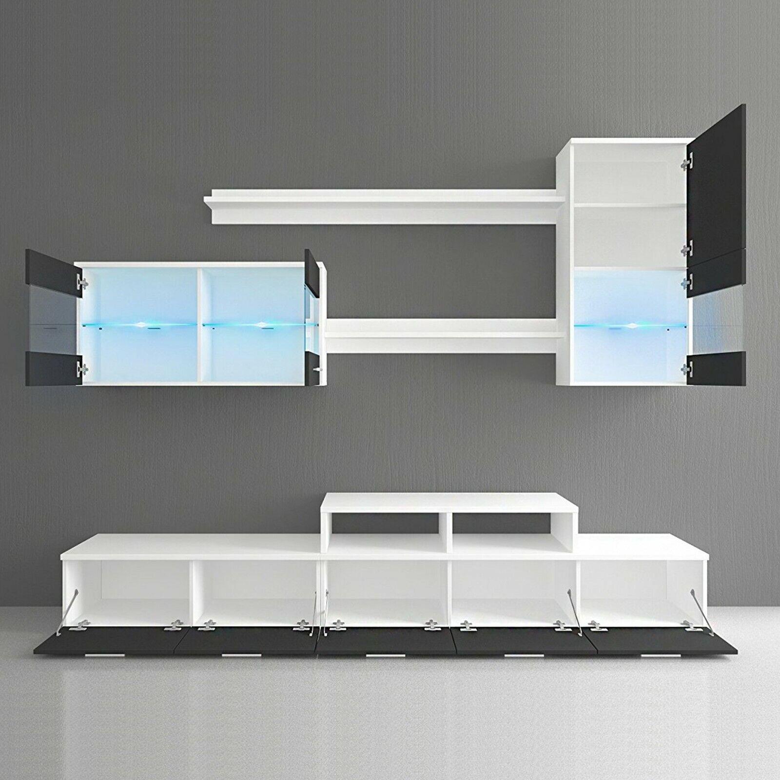 Mueble salón comedor moderno con Leds, Blanco Mate y Negro Brillo Lacado