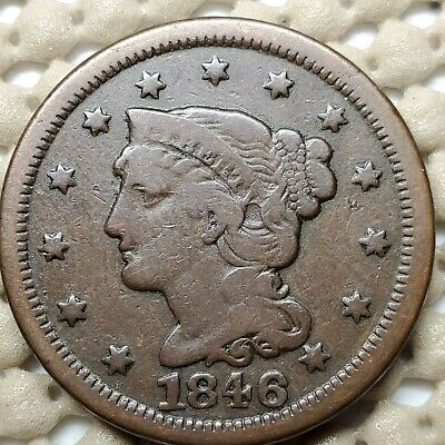 1846 Braided Hair Large Cent Copper 1¢ Coin Copper • 10.89 g • 27.5 mm KM# 67