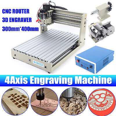 4 Axis Cnc 3040t Router Engraver Engraving Cutting Milling Machine T-screw 400w
