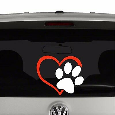 Puppy Dog Paw Print Heart Vinyl Decal Sticker - Puppy Paw Print