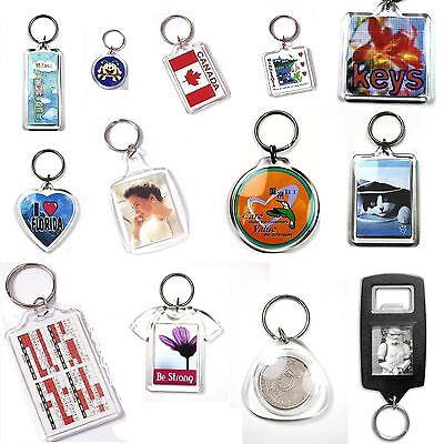 Blank Photo Keyring 1, 5, 10, 25, 50,100 Jumbo Passport Square Round Heart Shape