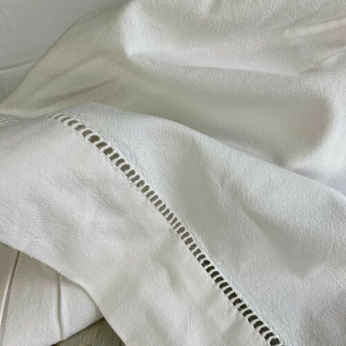 Simple, soft cotton French vintage bed sheet with Ladder work