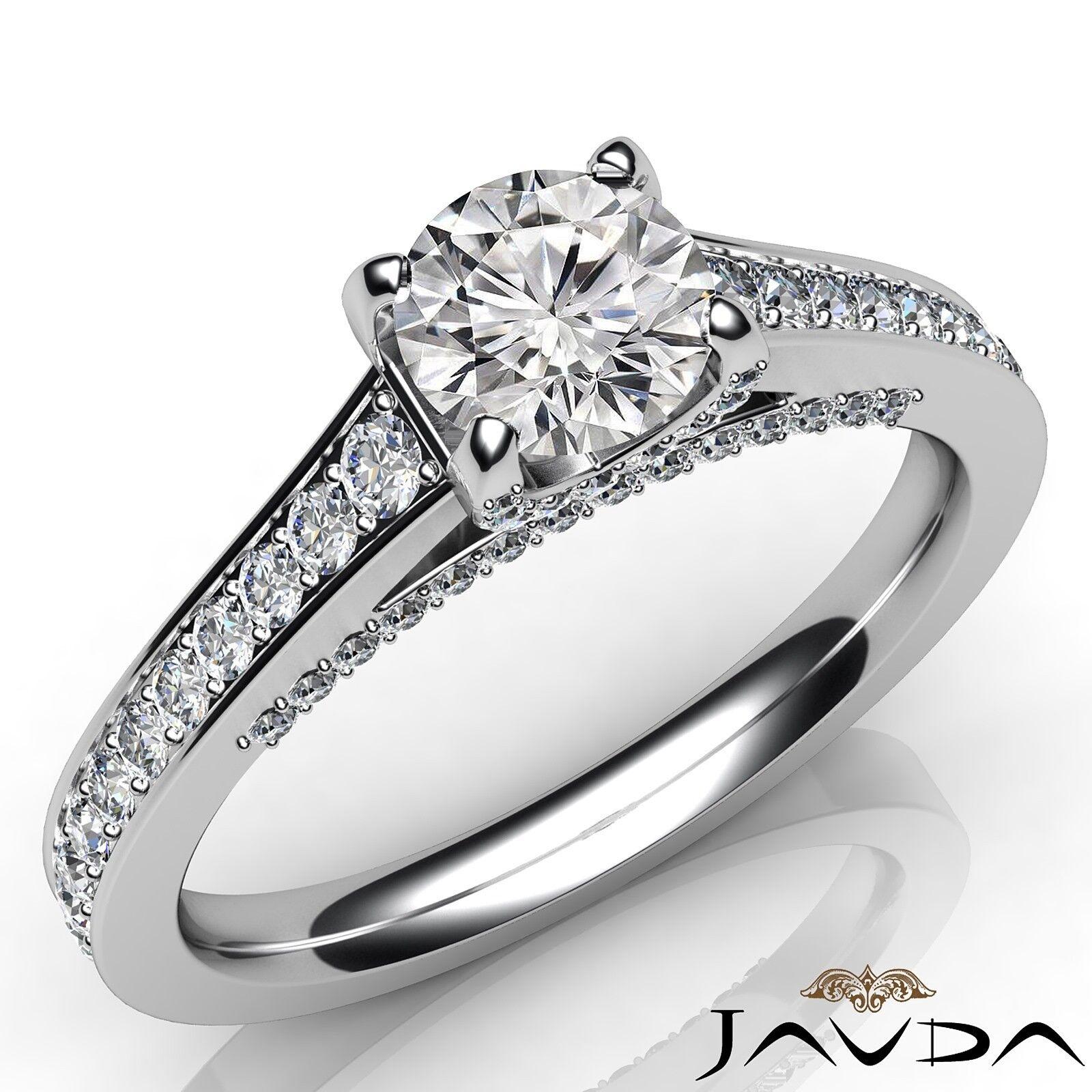 1.56ctw Bridge Accent Round Diamond Engagement Ring GIA K-VVS1 White Gold Rings