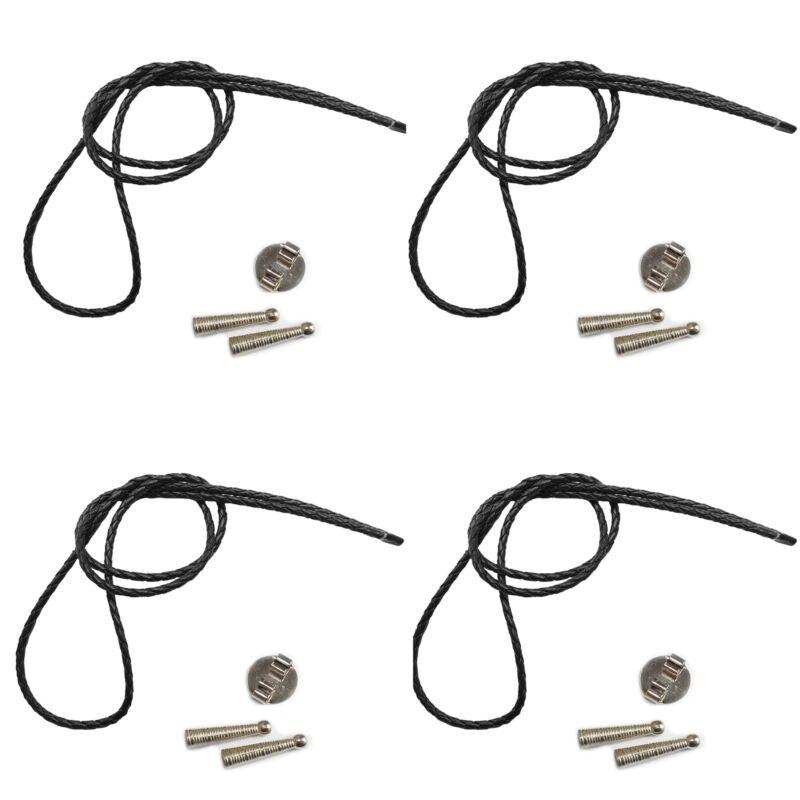 Blank Bolo String Tie Kit Round Slide Texture Tips Black Vinyl Braid SilverTone
