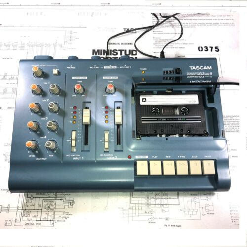 Tascam Porta 02 MKII 4Track Recorder; AC Adapter, Cassette Tape, & Manual