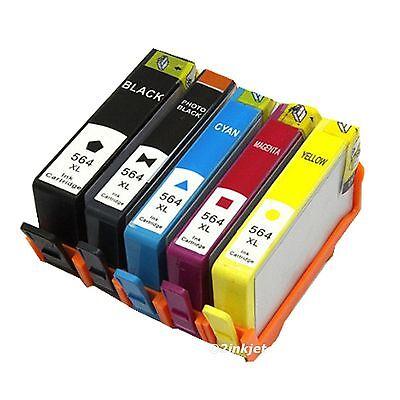 5 Pack 564XL Ink Set For HP Photosmart C309 C309a C309G C310a C410A (Compatible Inkjet Cartridge Set)