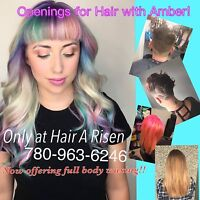 Family friendly modern salon accepting new clients with Amber