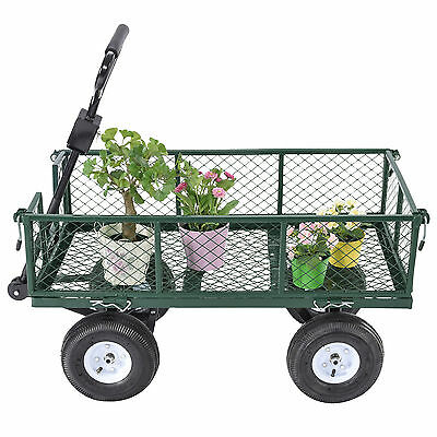 Heavy Duty Utility Wheelbarrow Wagon Cart Lawn Dump Trailer Yard Garden Steel