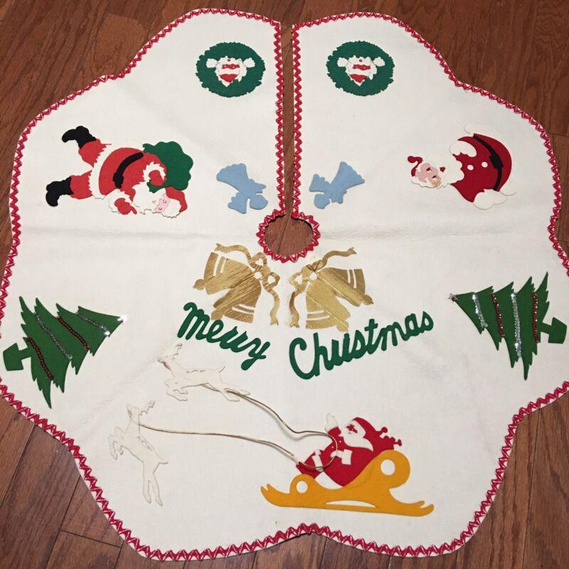 Vintage 60s Handmade Christmas Tree Felt Skirt Santa Reindeer Bells Tree