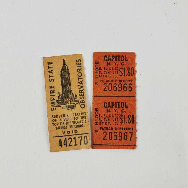 Empire State Building Observatories Vintage Ticket Stub Admission Receipt
