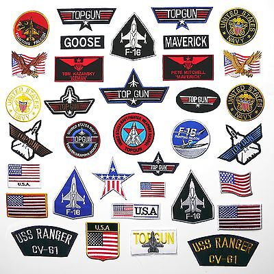 TOP GUN PATCHES - Any Patch £1.95, Iron-On, Free 1st Class Post, UK SELLER! - Costume Top Gun