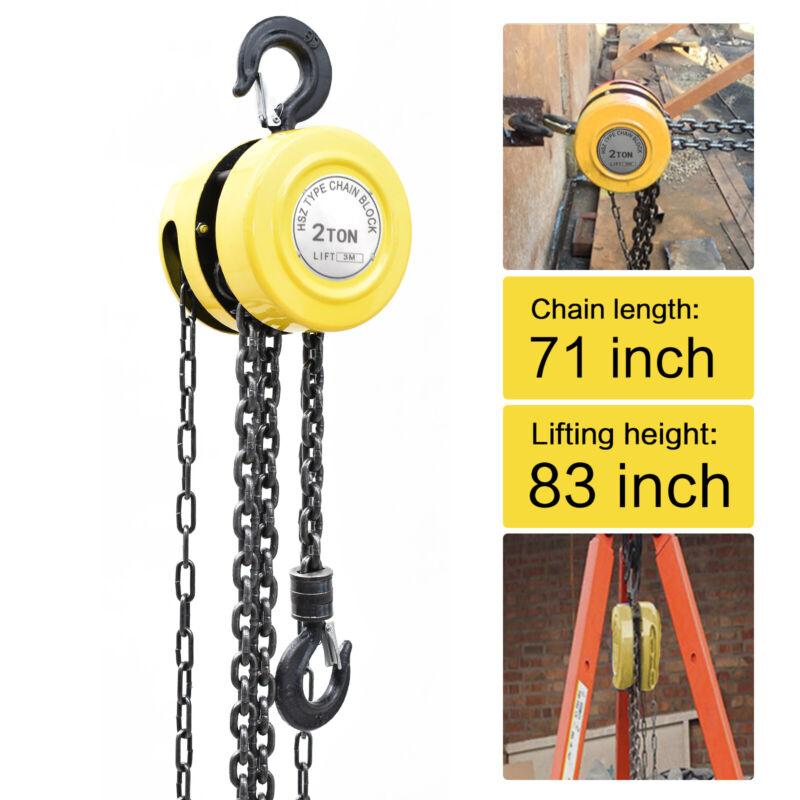 2 Ton Chain Hoist Puller Block Fall Chain Hoist Hand Tools Lifting Chain 4400lbs