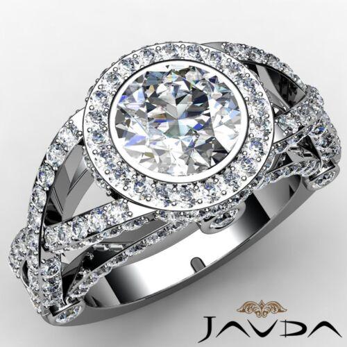 Round Diamond Engagement GIA F VS1 Platinum 950 Split Twisted Shank Ring 2.97ct