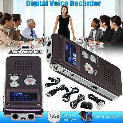 Rechargeable 8GB Digital Audio/Sound/Voice Recorder Dictaphone MP3 Player USB UK