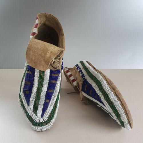 Antique Sioux (Lakota/ Dakota) Beaded Moccasins, Parfleche Soles, circa 1880s.