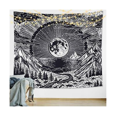 DESIHOM Moon Tapestry Wall Hanging Black Mountain Tapestry Moon and Stars Tap...