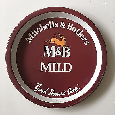 Vintage M&B Mild Beer Metal Pub Serving Tray British Michell Butlers Advertising