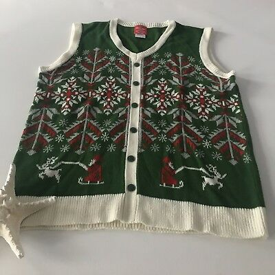 Christmas Sweater Vest (Ugly Christmas Sweater Vest Womens Medium Party Red Green White Knit Tops)