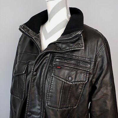 - Levis Faux Leather Jacket Lg Black Fleece Lined Bomber Trucker Moto Biker Coat