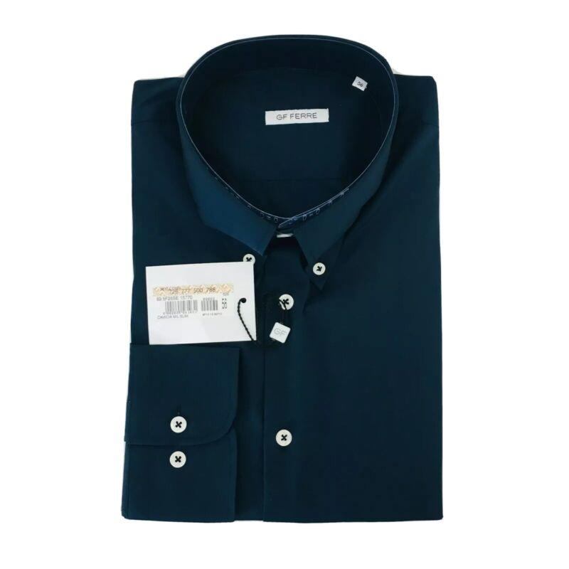 Men's Gianfranco GF Ferre Slim Fit Navy Blue Shirt Size 44 / XL