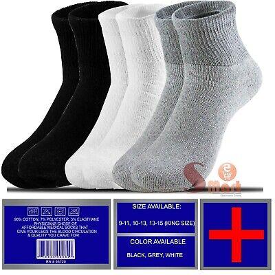 3 6 12 Pairs Mens Womens Health Diabetic Circulatory Cotton Ankle Quarter Socks