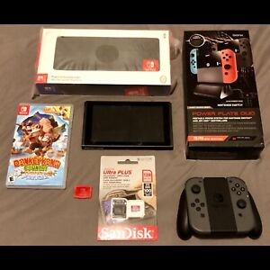Nintendo Switch with game and accessories
