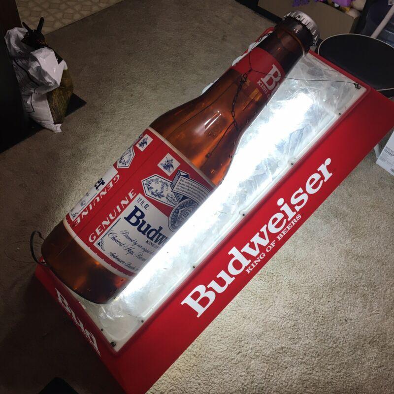 Vintage Budweiser Beer Bottle Light Bar Pool Table Hanging Advertising Lamp