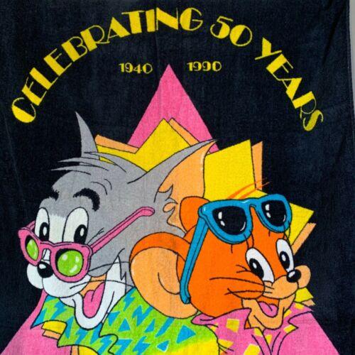 Vintage 1990s Tom & Jerry Beach Towel Celebrating 50 Years Cotton Turner  EUC