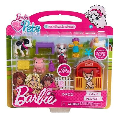 Barbie Pets Farm Set Pig Cow Puppy Scarecrow Rooster Accessories- NEW