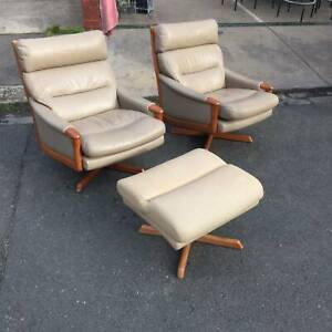 Leather swivel arm chairsX2, 2 seater sofa,footstool, WE CAN DELIVER