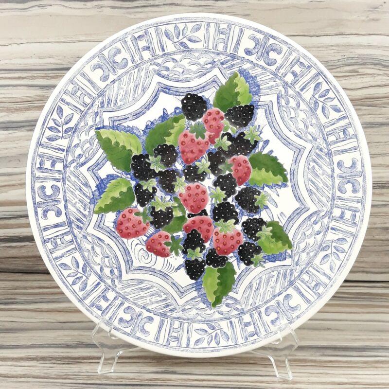 "Gien Oiseau Bleu Fruit Cake Plate / Platter 12"" Made in France"