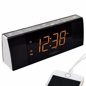 iTOMA Alarm Clock Radio, FM Radio, Bluetooth, Dual Alarm, Cell Phone Charging