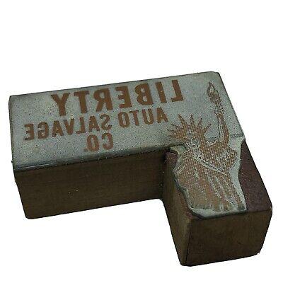 Vintage Wood Statue Liberty Auto Salvage Letterpress Print Type Ornament Block