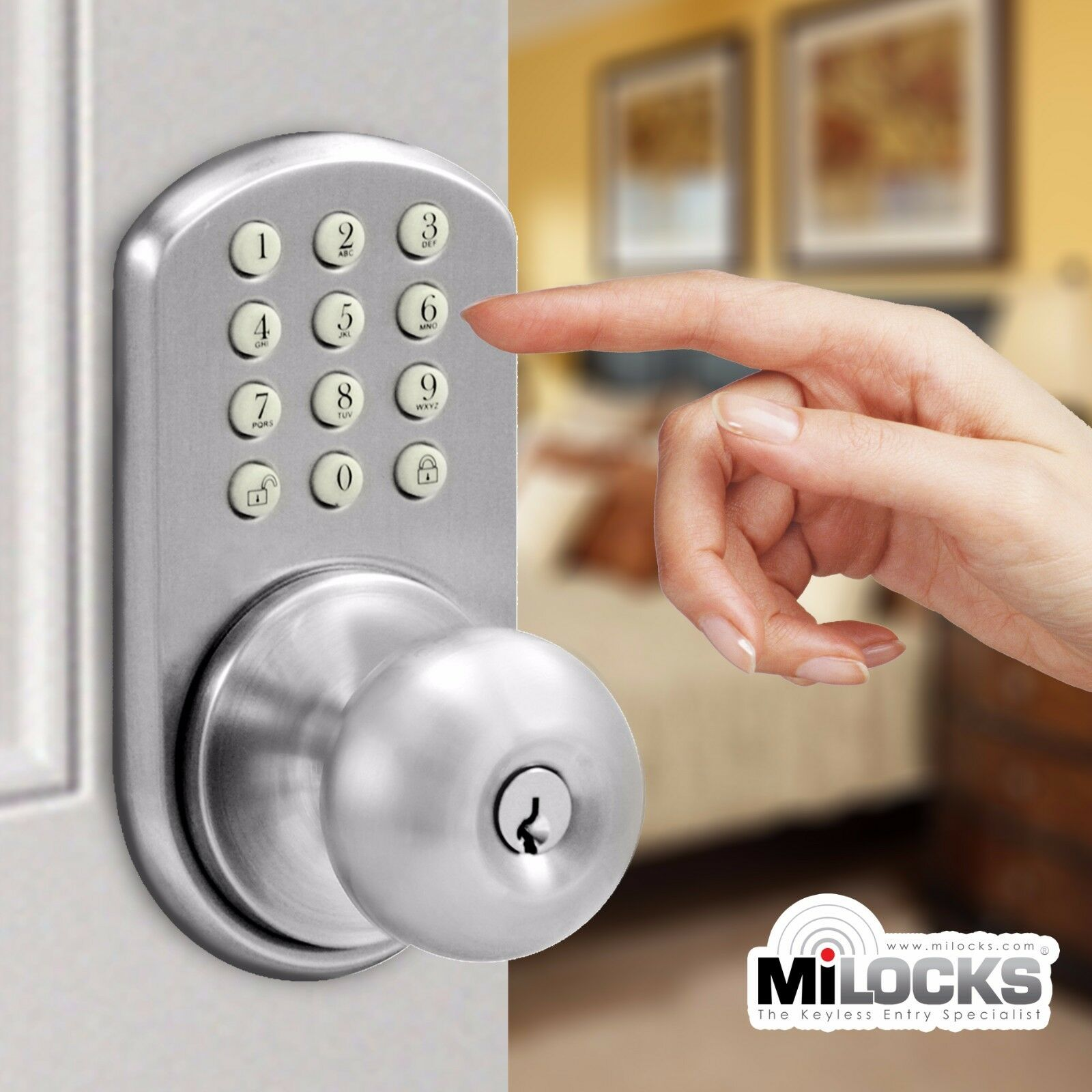milocks electronic keyless entry touchpad keypad door knob lock