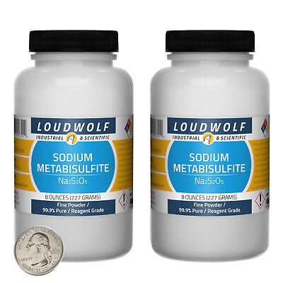 Sodium Metabisulfite 1 Lb 2 Bottles 99.9 Pure Reagent Grade Fine Powder
