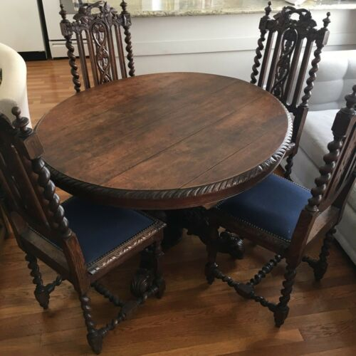 Antique 1910-1920 Barley Twist / Hunter-style Table and Chairs from France