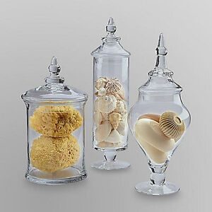 New Large Set of 3 Glass Apothecary Jar Glass Set w/ Lids Candy Bathroom Decor