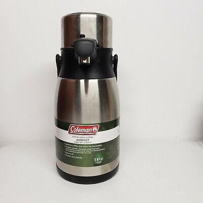 Coleman Stainless Steel Air Pot New 2.64 Qt Coffee Pot Dispenser Carafe