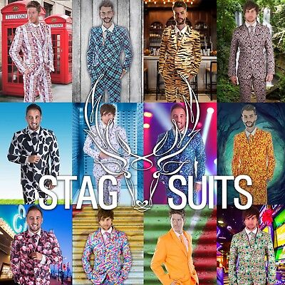 Mens Fun Crazy Pattern Funny Fancy Dress Stag Do Costume Suit ideal for Party