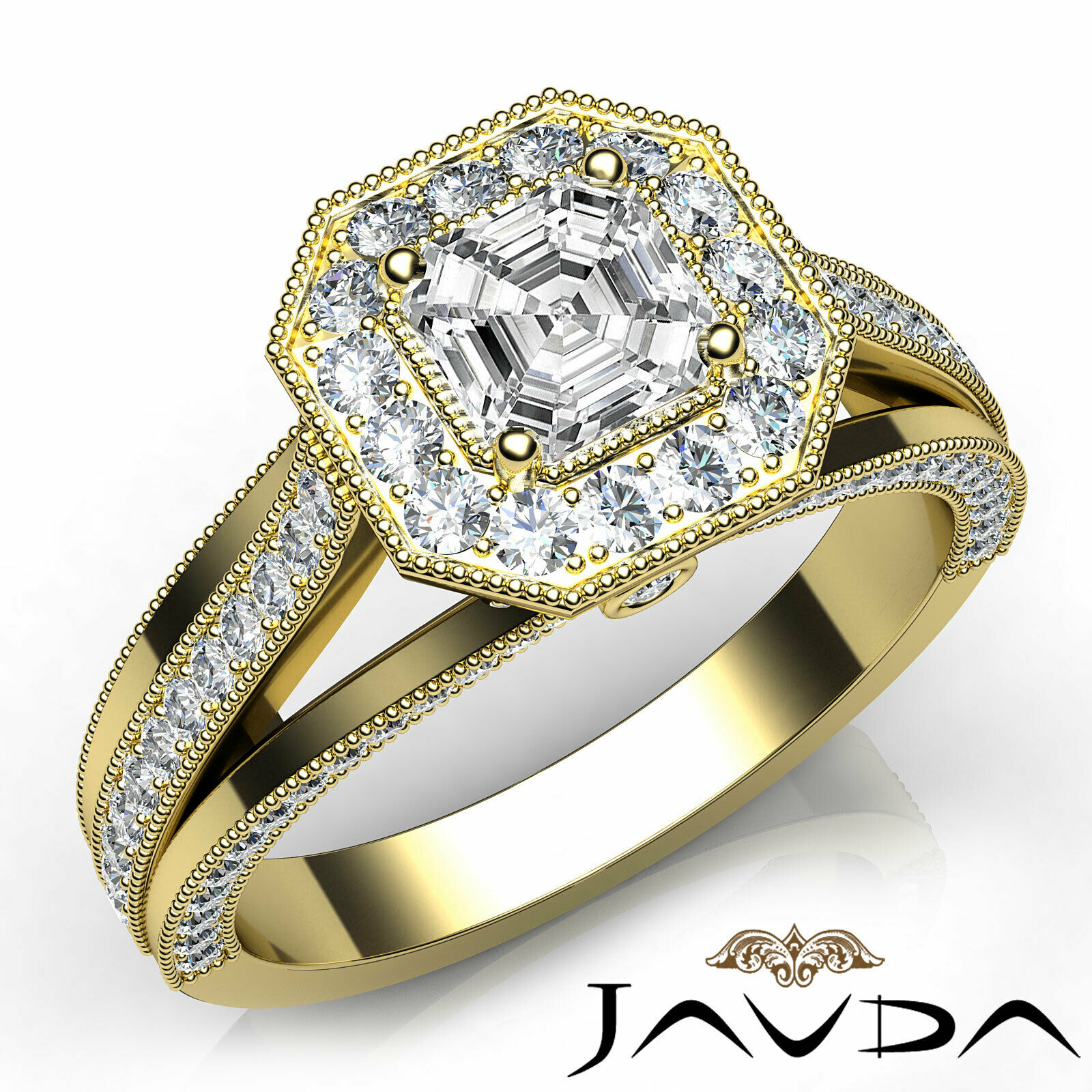 Asscher Diamond Engagement GIA H VS2 18k Yellow Gold Halo Pave Set Ring 1.4Ct