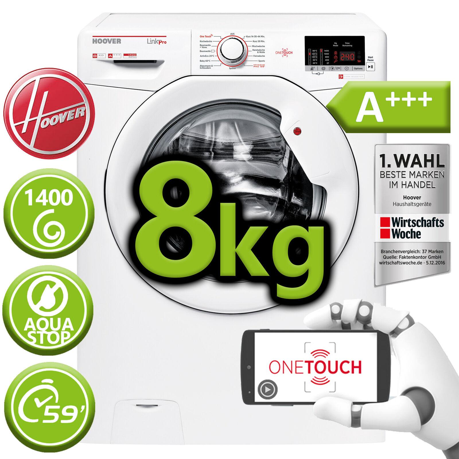 Waschmaschine Frontlader A 8 kg Waschautomat 1400 Umin Aqua Stopp Hoover
