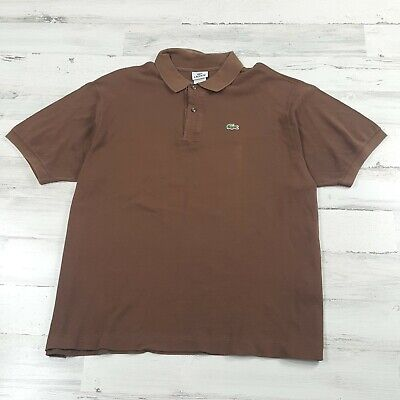 Lacoste Men's Brown Short Sleeve Cotton Polo Shirt Size 8 XXL