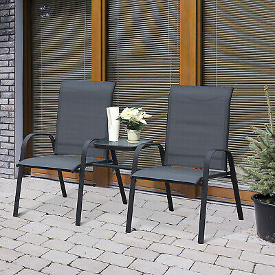 Outsunny Outdoor Garden Double Patio Chair Set w/ Attached Middle Coffee Table
