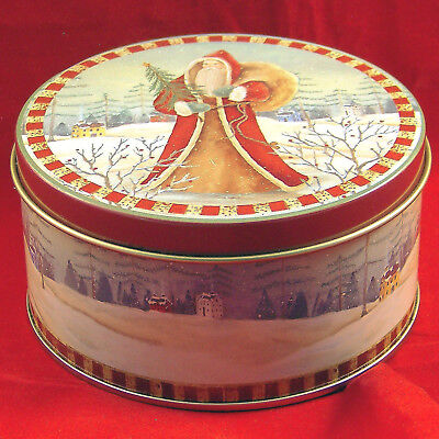 """Tin Xmas Old World Santa Claus Holiday Empty Small Can Box Container 4,1/4""""Round"""