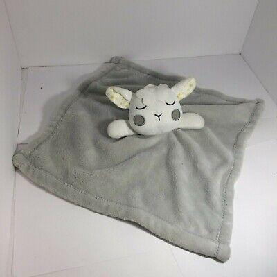 💚 UNBRANDED LOVIE BLANKET GRAY WHITE LAMB SHEEP SLEEPING F0